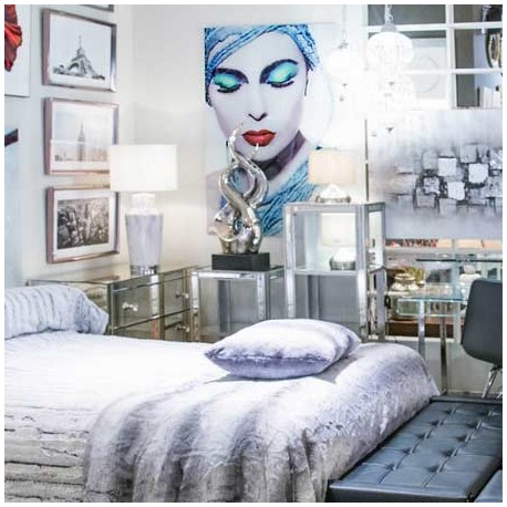 Comprar cuadro mujer fotoimpresi n en cristal templado - Tonos azules ...