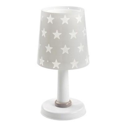 Lámpara de sobremesa infantil Stars en gris con estrellas blancas