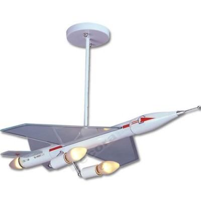 Lámpara infantil avión supersónico de metal cristal
