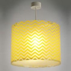 Lámpara de techo infantil Fun con pantalla a rayas zig-zag amarillas