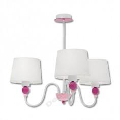 Lámpara infantil blanca rosa con tulipa de tela 3 luces