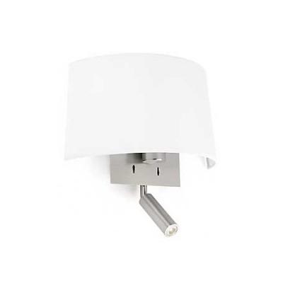 Aplique pared Volta en níquel con pantalla blanca y lector LED
