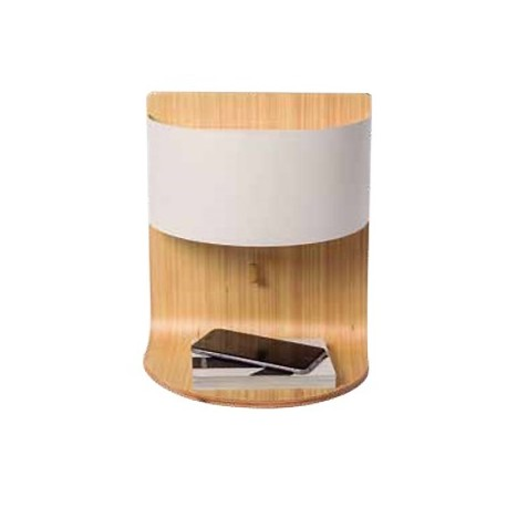 Comprar aplique de pared robert en madera con pantalla for Aplique pared madera