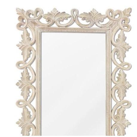 Comprar espejo decorativo pared madera tallada en blanco roto for Paredes blanco roto