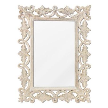 Comprar espejo decorativo pared madera tallada en blanco roto - Blanco roto pared ...