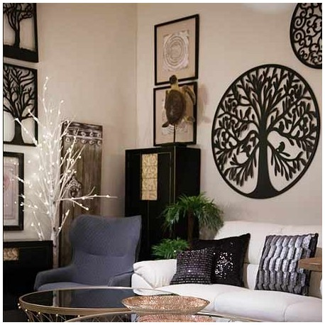 Comprar mural decoraci n pared rbol en metal negro for Decoracion pared metal