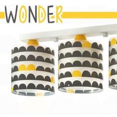 Lámpara infantil de tres luces Wonder en gris y amarillo