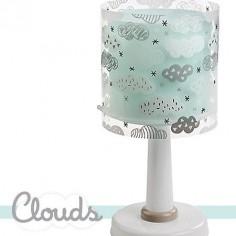 Lámpara sobremesa infantil Clouds en color verde con nubes