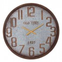 Reloj de pared redondo en metal gris y óxido