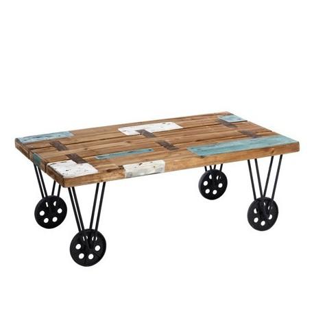 Comprar mesa centro industrial madera natural azul y - Ruedas para mesa de centro ...