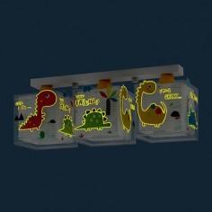 Lámpara infantil de tres luces Dinos con dinosaurios de colores