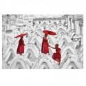 Cuadro impresión cristal templado Monjes budistas en blanco y rojo