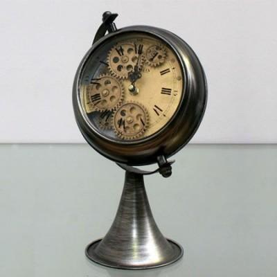 Reloj de sobremesa mecanismo con pie en metal plata