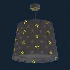 Lámpara colgante infantil Stars en gris con estrellas blancas
