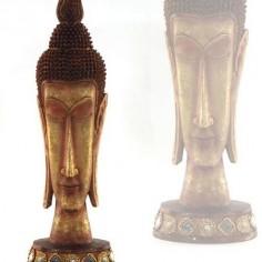 Cabeza de buda grande alargada en dorado y cobre