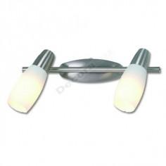 Regleta moderna en níquel mate cristal blanco 2 luces