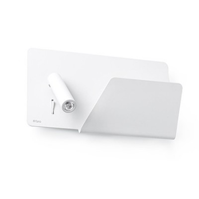 Aplique de pared LED Suau en metal blanco con estante
