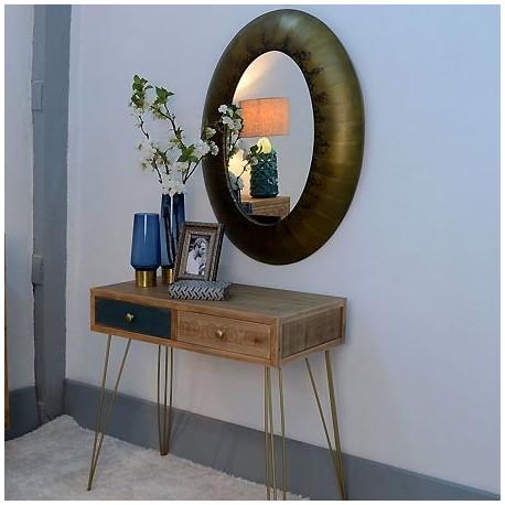 Comprar Espejo Ovalado En Metal Acabado En Oro Antiguo