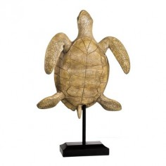 Figura decorativa Tortuga marrón y crema con pie