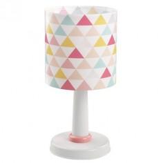 Lámpara de sobremesa infantil Happy con triángulos de colores
