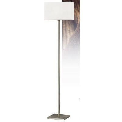Lámpara de pie Emes en cromo con pantalla cuadrada blanca
