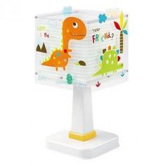Lámpara sobremesa infantil Dinos con dinosaurios de colores
