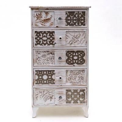 Sinfonier Casablanca cinco cajones madera patinada en blanco con tallado
