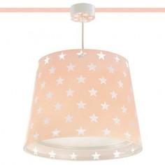 Lámpara infantil techo Stars en rosa con estrellitas blancas