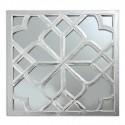 Espejo talla madera en plata y blanco rozado
