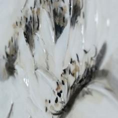 Lienzo al óleo de flor blanca brillo con efecto nacarado