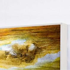 Pintura abstracta marrón, verde y azul en pexiglass