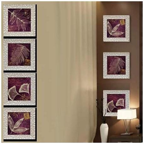 Comprar set de cuatro cuadros de hojas morado con marco for Comprar cuadros bonitos
