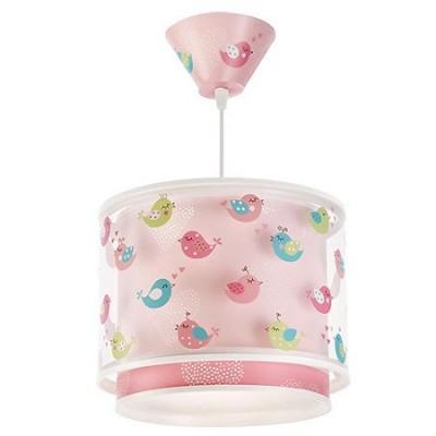 Lámpara infantil Birds en rosa con pájaros de colores