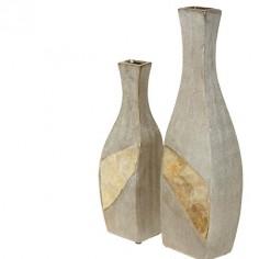 Set dos jarrones asimétricos dorados en cerámica y nácar