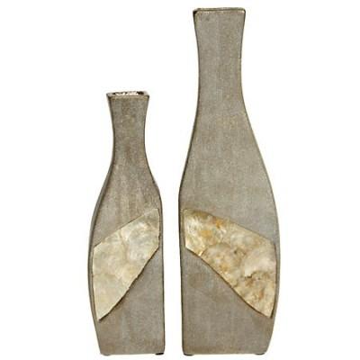 Set de dos jarrones asimétricos dorados en cerámica y nácar