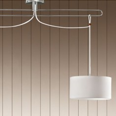 Lámpara de techo Jango en cromo con dos pantallas blancas