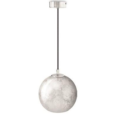 Lámpara colgante bola Aura en pan de plata y cromo