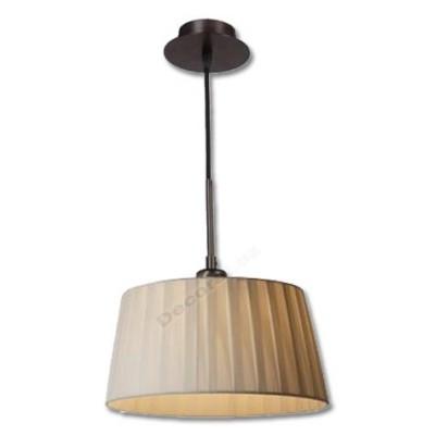 Lámpara colgante 1 luz con pantalla de tela en tono crema