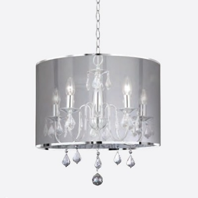 Lámpara de techo Venetian en cromo y cristal con cinco luces