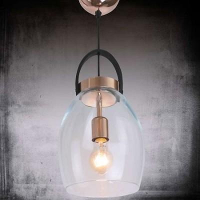 Lámpara colgante Lantern C en cristal transparente, cobre y negro