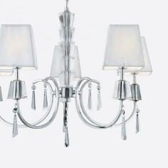 Lámpara Portico con cinco luces en cromo y cristal