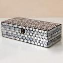 Caja decorativa mosaico panal plata y gris rectangular