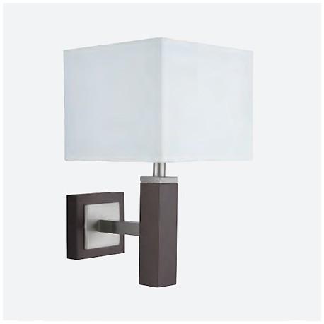 Comprar aplique de pared en madera y plata satinada con for Aplique pared madera