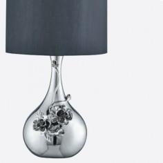 Lámpara de sobremesa cromo con figura de flores y pantalla textil gris oscuro