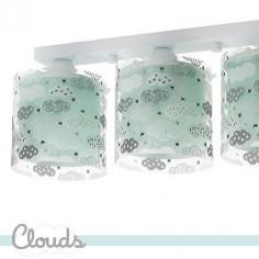 Lámpara techo infantil tres luces Clouds en verde aguamarina