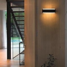 Aplique de exterior LED Sticker en gris oscuro y opal