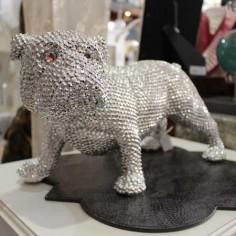 Figura decoración perro Bulldog en cromo con brillo