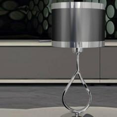 Lámpara de sobremesa en cromo con pantalla cilindro en plomo