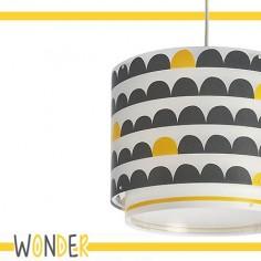 Lámpara colgante infantil Wonder en gris y amarillo