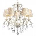 Lámpara chandelier Velvet Elegant en crema con pantallas estampadas